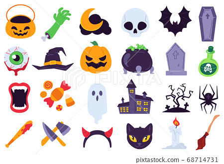 Halloween icons. Holiday symbols, moon and spider, pumpkin, ghost and bat. Candy, skull and gravestone, candle, broom flat vector se 68714731