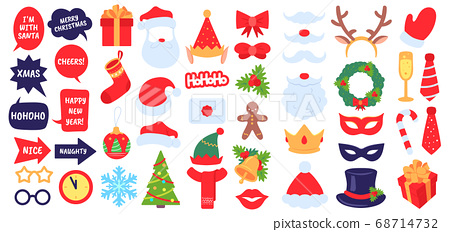 Christmas photo props. New year party, photo booth with masquerade decor santa hat and beard. Elf hat, gift, xmas stocking vector set 68714732