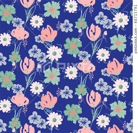 Floral seamless blue pattern with wildflowers and meadow plants. 68715791