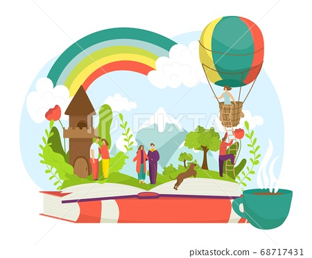 Love open book with cartoon people character, story in textbook vector illustration. Happy imagination at paper, fantasy concept 68717431