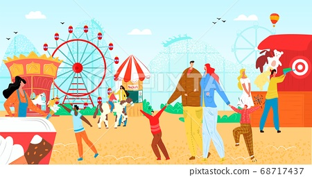 Amusement park with fun flat carousel vector illustration. Vacation entertainment, fair wheel at carnival festival for people character. 68717437