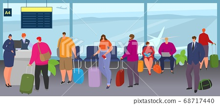 Airport people queue trip with luggage, baggage vector illustration. Tourist group at terminal wait for flight, man woman character 68717440