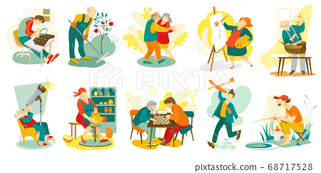 People hobby, creative artistic man and woman characters doing favorite things, set of vector illustrations. Art, music, chess playing. 68717528