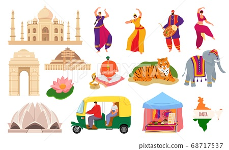 Travel to India, indian landmark tourism set of vector illustrations. Taj mahal building architecture and culture, hindustani people. 68717537