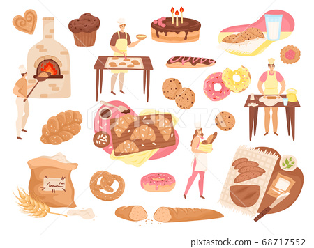 Bakery food, pastry and products set of isolated vector illustrations. Bakers, fresh bread loafs, pies, cakes, flour and baking stove icons. 68717552