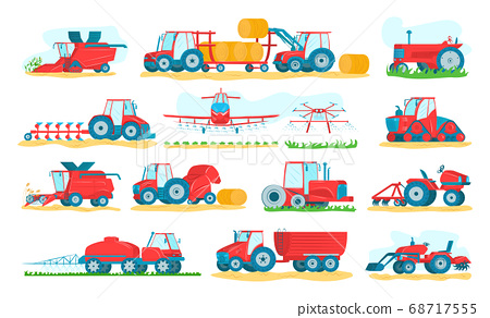 Agricultural machinery set of isolated on white vector illustrations. Agriculture vehicles and farm machines. Tractors, harvesters, combines. 68717555
