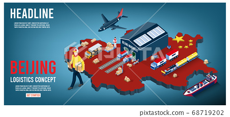 Modern isometric concept of Beijing Logistics Landing page with Global Logistics, Warehouse, Sea Freight.  Easy to edit and customize. Vector illustration 68719202