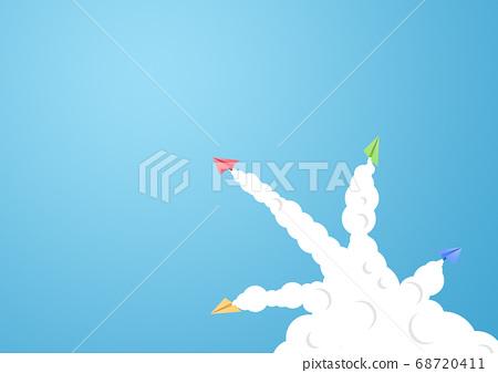 각각 다른 방향으로 날아가는 종이 비행기 [지공예] 68720411