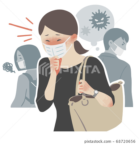 마스크 기침을하고 주위의 사람에게 감염을 의심하는 여자 일러스트 68720656
