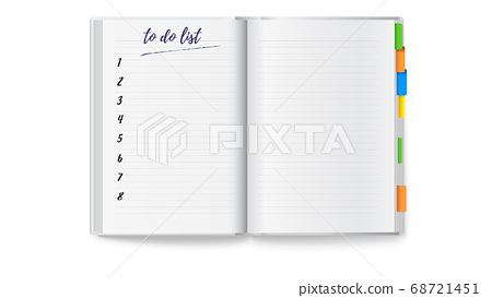 Realistic opened notebook with clean to do list 68721451