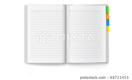 Opened notebook with colored bookmarks. Vector 3d 68721453