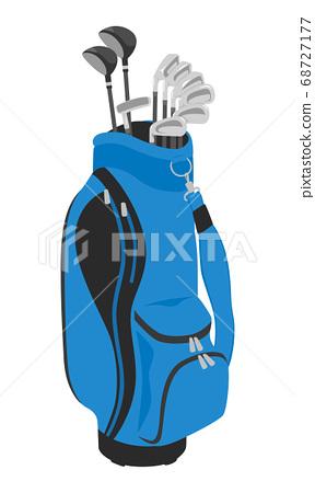 帶來到高爾夫球場的一個藍色小型運車袋子的例證。 68727177