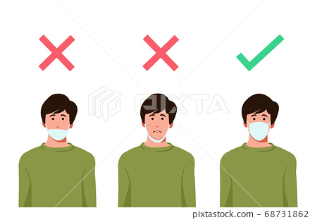 Set of men wearing medical mask in the wrong way with red cross symbol, one men wearing medical mask properly with   green check mark, protection concept, prevent virus, vector illustration  68731862