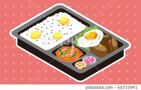 시판 계란 후라이 햄버거와 밤 밥 도시락 68733941