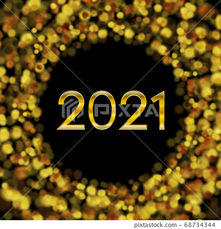 New Year 2021 golden bokeh particles shiny 68734344