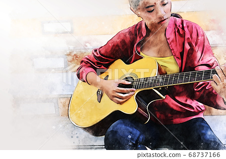 Abstract woman playing acoustic guitar on walking street on watercolor painting background. 68737166