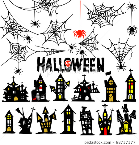 Castle and spider web  Halloween . House and 68737377