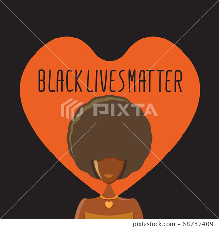 Black lives matter banner with afro american girl silhouette with afro style hair. Black lives matter graphic poster or print design template against racial discrimination with black woman 68737409