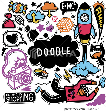 Hand Drawn Vector Illustration of Doodle set 68737560