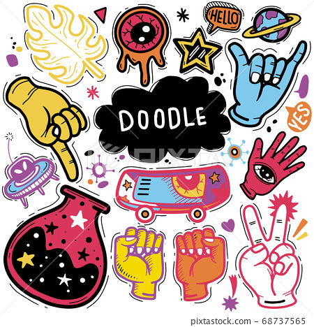Hand Drawn Vector Illustration of Doodle set 68737565