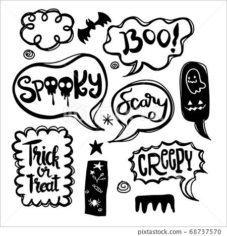 Halloween speech bubbles set with text 68737570