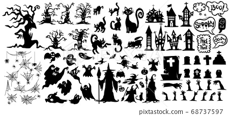 Collection of halloween silhouettes icon and 68737597