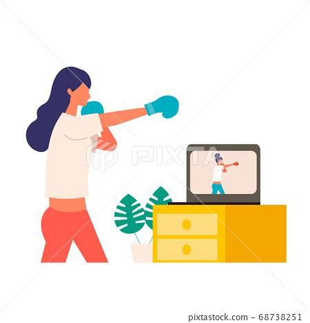 在線健身女子拳擊的插圖 68738251