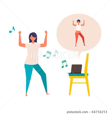 在線健身中跳舞的女人的插圖 68738253