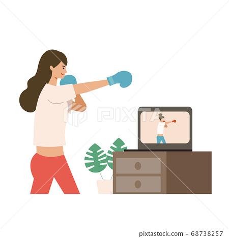 在線健身女子拳擊的插圖 68738257