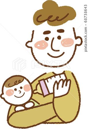 嬰兒和微笑的爸爸帶著微笑看著牛奶 68738643