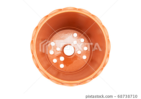Empty brown plastic flower pot isolated on white background with clipping path 68738710