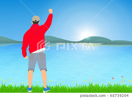 Man standing with cheerful with fists raised up beside the lake with sunrise background, success, achievement and winning concept vector illustration 68739204