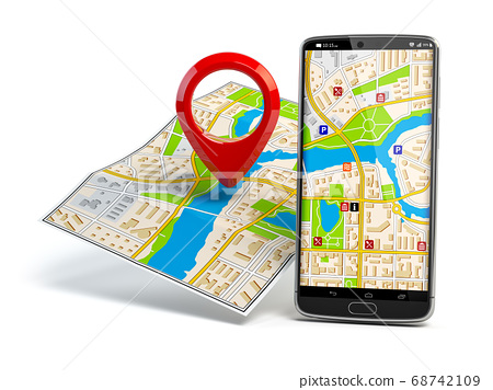 martphone and pin on city map. Mobile GPS 68742109