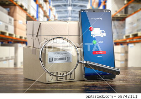 Smartphone with cardboard boxes and loupe. 68742111