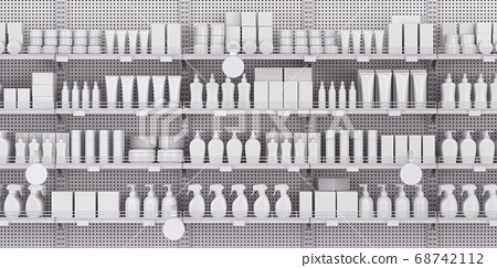 White supermarket shelves and showcases with 68742112