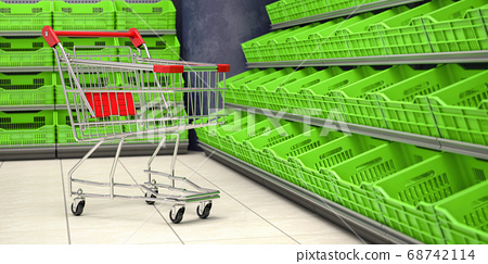 Empty shopping cart and empty fruit plastic crates 68742114