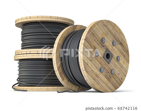 Wire electric cable on wooden coil or spool 68742116