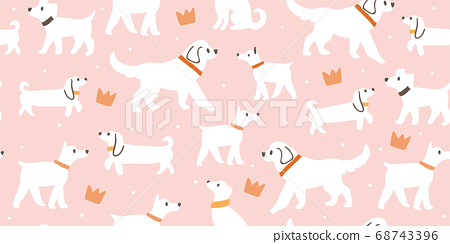 seamless pattern with cute white dogs, crowns 68743396