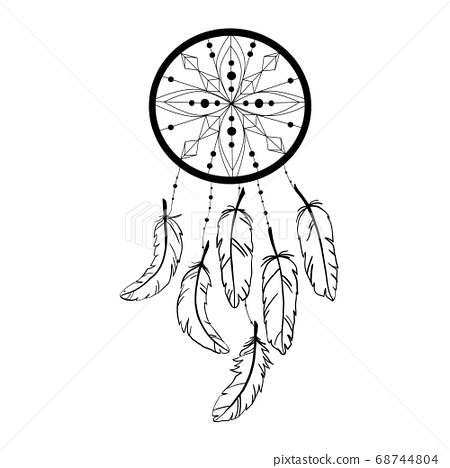 Dream catcher decorated with feathers and beads. Hand drawn vector illustration. Silhouette. 68744804