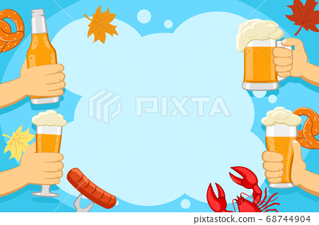 Beer in hands with lobster, sausage and pretzels. 68744904