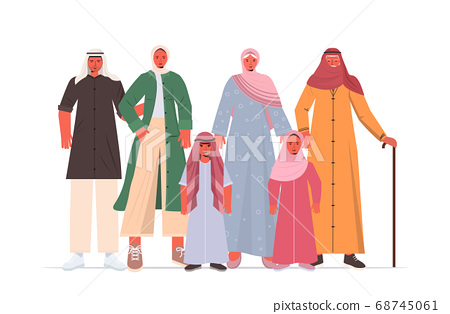 arab multi generation family in traditional clothes happy grandparents parents and children standing together 68745061
