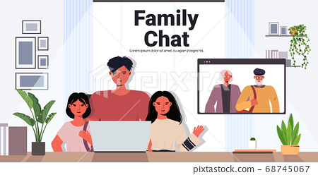 father and children having virtual meeting with grandparents video call family chat communication concept 68745067