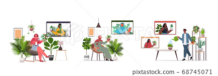 set people taking care of houseplants having virtual meeting with mix race friends during video call 68745071