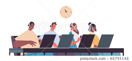 operators with headset chatting with clients call center agents working in office customer support service 68745148