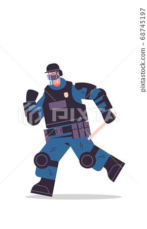 policeman in full tactical gear riot police officer protesters and demonstrations control concept 68745197