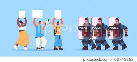 policemen in full tactical gear riot police officers attacking street protesters with placards during clashes demonstration protest concept full length horizontal vector illustration 68745268