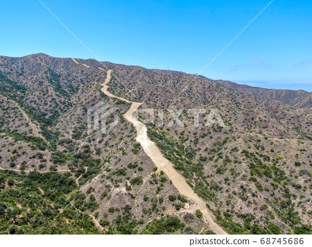 Aerial view of hiking trails on the top of Santa Catalina Island mountains 68745686