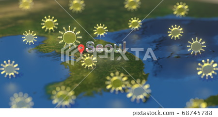 Sunny weather icons near Seoul city on the map, weather forecast related 3D rendering 68745788