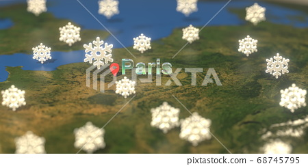 Snowy weather icons near Paris city on the map, weather forecast related 3D rendering 68745795