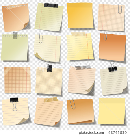 Realistic blank sticky notes with clip binder and adhesive tape. Colored sheets of note papers 68745830